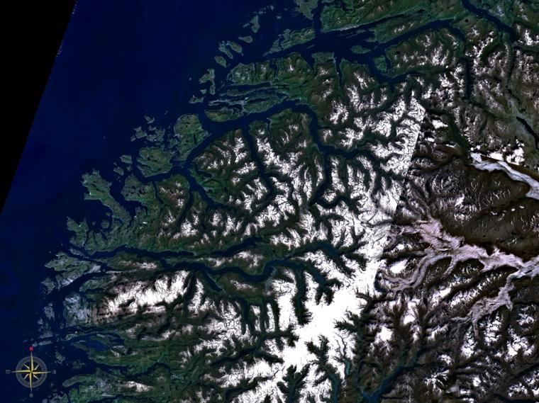 Egy műholdkép a Norvég fjordokról. Forrás: NASA WorldWind