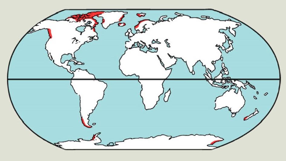 A fjordok elhelyezkedése a világon. (Vörös színnel jelölve) Forrás: http://www.arcticsurfblog.com/ szerkesztett.